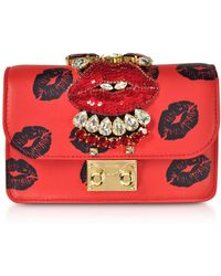 Gedebe - Mini Cliky Nappa Printed Red Lips Clutch W/chain Strap - Lyst