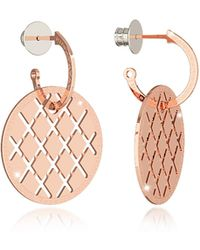 Rebecca - Melrose Rose Gold Over Bronze Drop Hoop Earrings - Lyst