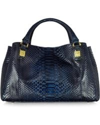 Ghibli - Midnight Blue Phyton Leather Satchel Bag - Lyst
