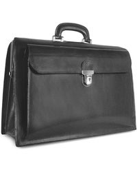FORZIERI - Black Italian Leather Buckled Large Doctor Bag - Lyst