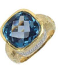 Torrini - Stefy - Topaz And Diamonds Yellow Gold Ring - Lyst