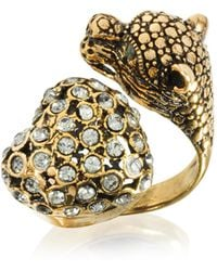 Alcozer & J - Panther And Heart Brass Ring - Lyst