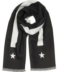 Givenchy - Stripe And Star-intarsia Black Wool Long Scarf - Lyst