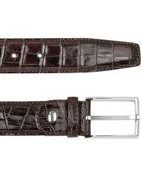 Manieri - Men's Brown Croco Stamped Leather Belt - Lyst