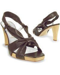Alberto Gozzi - Dark Brown Leather Straps Platform Sandal Shoes - Lyst