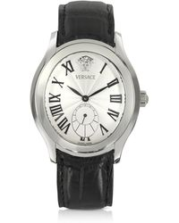 Versace - Bond Street -men's Black Crocodile Leather Watch - Lyst