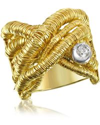 Orlando Orlandini - Capriccio - Diamond 18k Yellow Gold Crossover Ring - Lyst