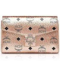 MCM - Champagne Gold Millie Visetos Small Crossbody Bag - Lyst