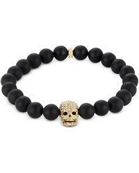 Northskull - Matte Black Onyx/gold Skull Bracelet With Crystals - Lyst
