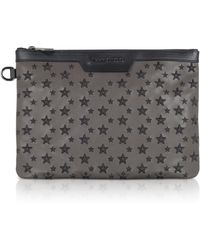 Jimmy Choo Smoke/black Derek/s Small Clutch W/stars