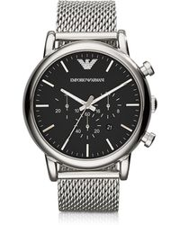 Emporio Armani - Black Dial And Stainless Steel Men's Chronograph Watch - Lyst