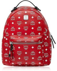 MCM - Viva Red Stark Backpack W/white Logo Visetos 32 - Lyst