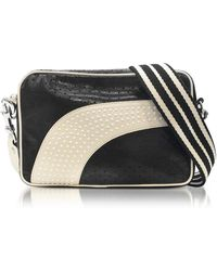 RED Valentino - Black/milk White Perforated Leather Crossbody Bag W/studs - Lyst