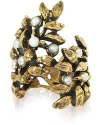 Alcozer & J - Mistletoe Brass Ring W/glass Pearl - Lyst