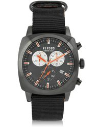 Versus - Riverdale Black Plate Stainless Steel And Canvas Strap Men's Watch - Lyst