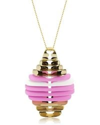 Pluma - Gold Pink And White Fishbone Pendant Necklace - Lyst