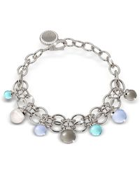 Rebecca - Hollywood Stone Rhodium Over Bronze Chains Bracelet W/hidrothermal Stones - Lyst