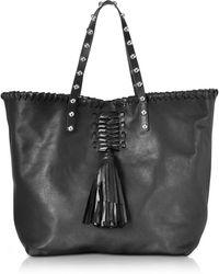 RED Valentino - Black Leather Tote Bag W/fringe Tassel - Lyst