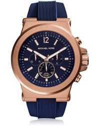 08b60b748102 Michael Kors - Dylan Rose Gold Tone Stainless Steel Case And Blue Silicone  Strap Men s Crono