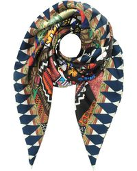 Christian Lacroix - Black And Ivory Love Printed Silk Square Scarf - Lyst