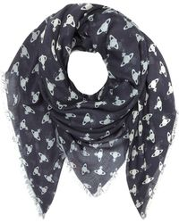 Vivienne Westwood - Navy Blue Absence Of Orbs Woven Modal And Wool Wrap - Lyst