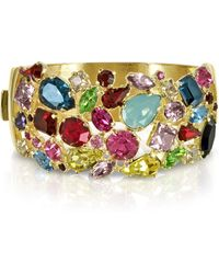 FORZIERI - Gold Plated Metal Bangle W/crystals - Lyst