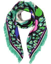 Emilio Pucci - Pink/green Pop Flower Print Twill Silk Square Scarf W/fringes - Lyst