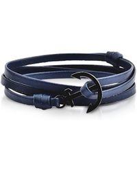FORZIERI - Leather Men's Double Bracelet W/black Anchor - Lyst