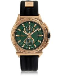 Ferragamo - Ferragamo 1898 Sport Bronze Ip Stainless Steel Men's Chronograph Watch W/black Rubber Strap - Lyst