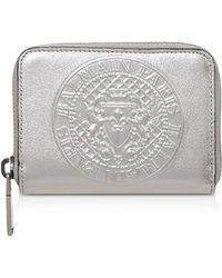Balmain - Mini Lambskin Coin Purse Silver - Lyst