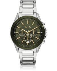 Emporio Armani - Drexler Silver Tone And Army Green Men's Chronograph Watch - Lyst
