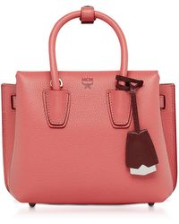 MCM | Milla Coral Pink Park Avenue Leather Mini Tote | Lyst
