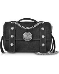 Balmain - Black Leather Suede Effect Bsoft 25 Flap Satchel Bag - Lyst