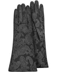 FORZIERI - Women's Black Suede Gloves W/ Silkscreen Design - Lyst
