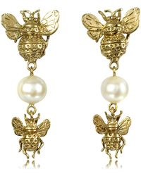 Bernard Delettrez - Bees And Pearls Bronze Earrings - Lyst