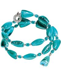Antica Murrina - Marina 1 Rigido - Turquoise Green Murano Glass And Silver Leaf Bracelet - Lyst