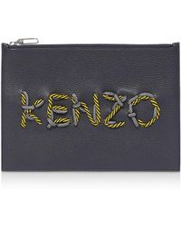 KENZO - Cord Leather Clutch - Lyst