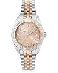 Trussardi - Silver And Rose Gold Stainless Steel Women'w Watch - Lyst