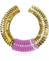 Pluma - Gold Pink And White Fishbone Necklace - Lyst