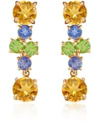 Forzieri | Amethyst And Citrine Flower 18k Gold Earrings | Lyst