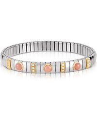 Nomination - Golden Stainless Steel Women's Bracelet W/pink Corals And Cubic Zirconia - Lyst