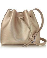 Lancaster Paris - Pur & Element Champagne Pink Saffiano Leather Bucket Bag - Lyst