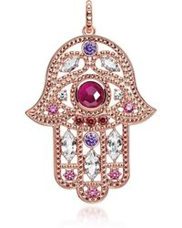 Thomas Sabo - Rose Gold Plated Sterling Hand Of Fatima Pendant W/pink Zirconia - Lyst