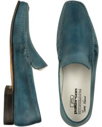 Pakerson - Petrol Blue Italian Handmade Leather Loafer Shoes - Lyst