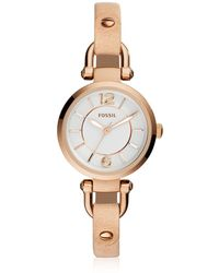 Fossil - Georgia Mini Rose Gold Tone Stainless Steel Case And Nude Leather Strap Women's Watch - Lyst