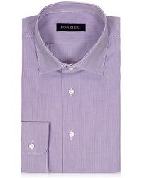 FORZIERI - Purple & White Striped Cotton Slim Fit Men's Shirt - Lyst