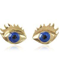 Bernard Delettrez - Blue Enamel Eye Bronze Earrings - Lyst