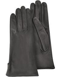 FORZIERI - Women's Black Calf Leather Gloves W/ Silk Lining - Lyst