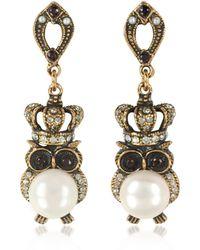 Alcozer & J Crowned Owl Earrings W/pearls - Metallic