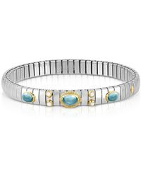 Nomination - Stainless Steel Women's Bracelet W/light Blue Topaz Oval Beads - Lyst